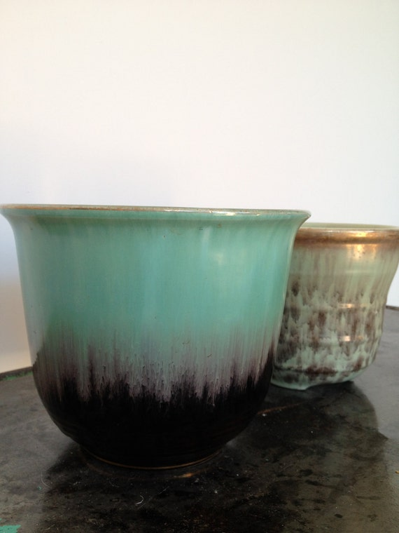 Vintage Sea Foam Green & Gold Planter Pots