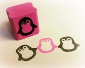 Kawaii Hand Carved Penguin Rubber Stamp w/ Mount