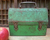 RESERVED FOR JULIA - Green Lunch Box - Vintage Rustic Workman's Pail
