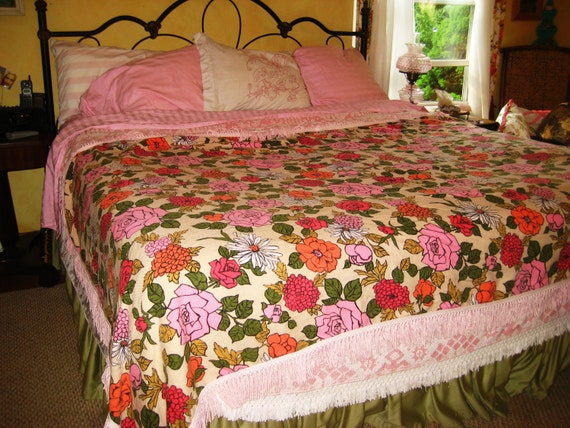 Shabby Chic Pink Flowers  Bed Throw Cottage Chic Tablecloth