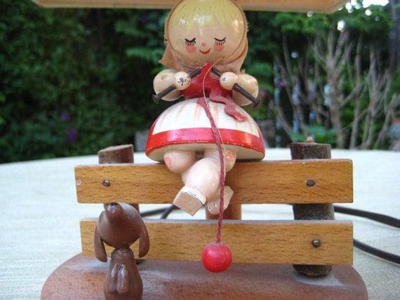50's Vintage Childs Wooden Lamp Folk Art Figurine Lamp Childs Table Lamp