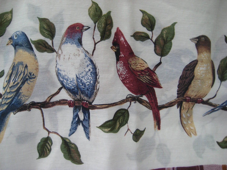 Vintage Bird Theme Curtains Cottage Decor