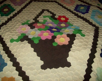Vintage/Handmade King Size Hexagon Flower Basket  Quilt Top