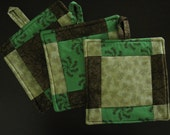 Green, Tan and Brown Quilted Pot Holder Set of 3