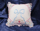 Vintage Handkerchief Pillow With Beautiful Embroidery and Crochet