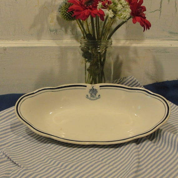 White With Blue Trim Syracuse China Oval Plate