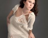 White exclusive crochet dress with crochet bolero top