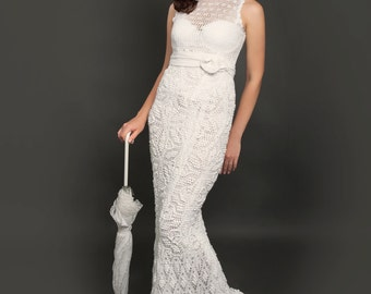 Exclusive long crochet wedding dress - the finished product in a single original