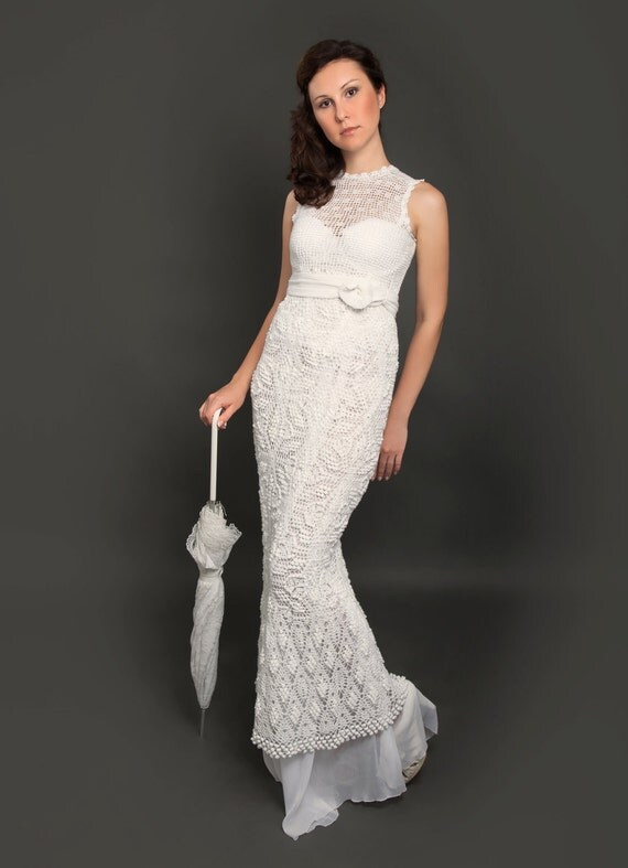 Exclusive long crochet wedding dress the finished product in like this item junglespirit Image collections