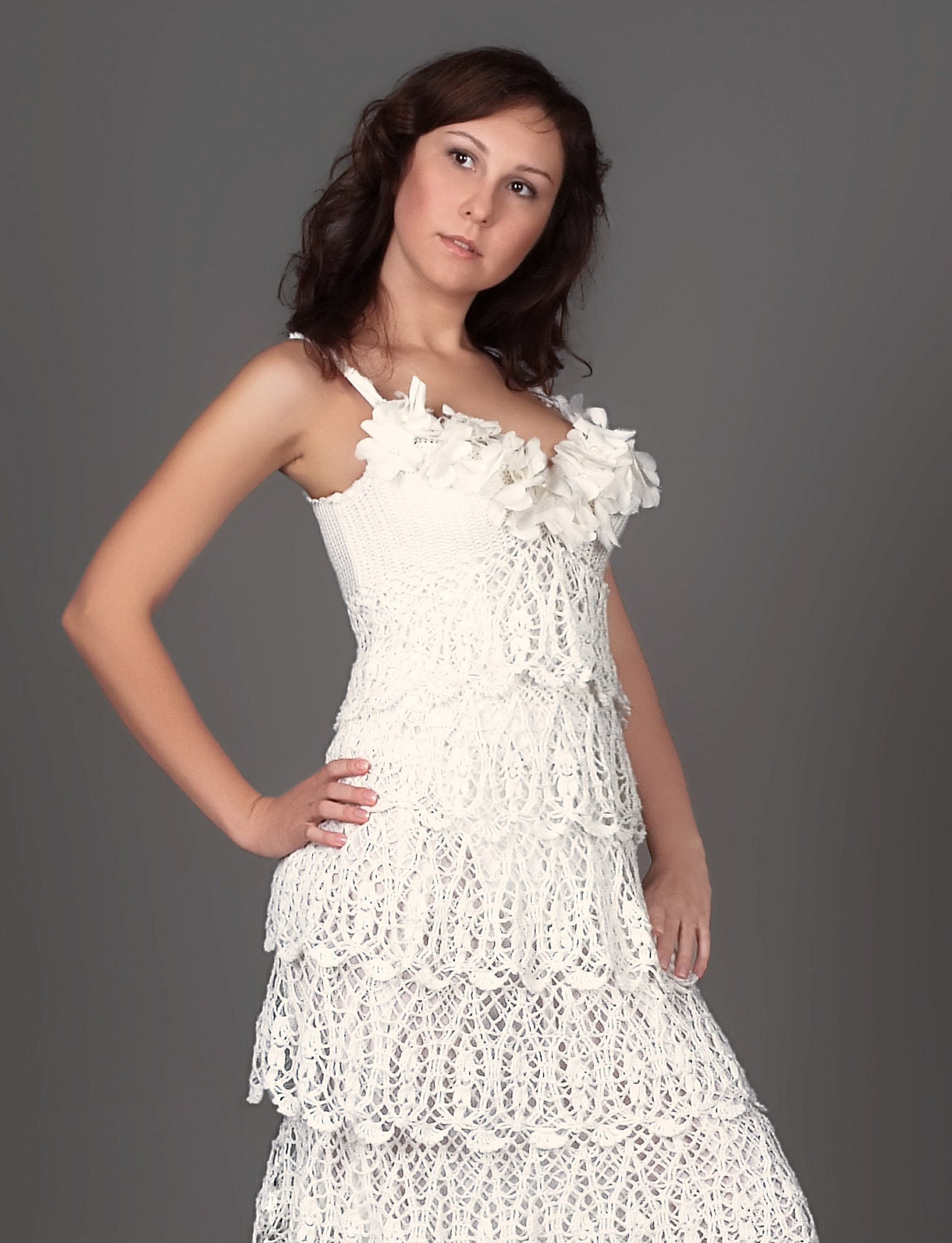 Exclusive long crochet wedding dress chic crochet dress for Crochet wedding dress patterns