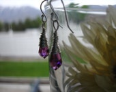 swarovki amethyst  wire wrapped, with sterling silver earwires