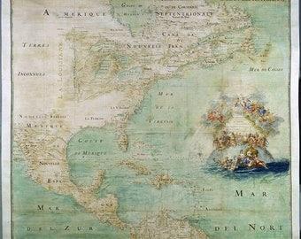 Antique world maps, Old World Map, illustration, ancient maps, ameriquesept..La Louisiane..Mar del Nort..Zur..Canada, 95