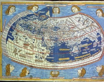Antique world maps, Old World Map illustration Digital Image, ancient maps, monde ptolemee, 06