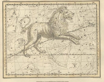 Constellation of the lion, Galaxy, Antique map of the Moon, Antique world maps, ancient maps,13