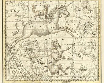 Canis Major, Canis Minor, Monoceros, Argo Navis, Pyxis Nautica, Antique map of the Moon, constellation, galaxy, 12
