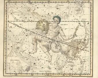 Capricornus, Aquarius, Le Ballon Aerostatique, Piscis Australis, Microscopium, Antique map of the Moon, constellation, galaxy, 23