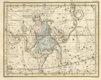 Ophiuchus, serpens, Antique map of the Moon, ancient maps, constellation, galaxy, 35