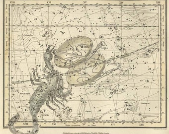 Scorpio and Libra, Antique map of the Moon, ancient maps, constellation, galaxy, 40