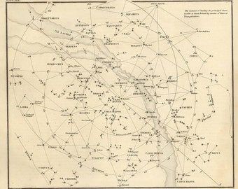 Map of the constellations, Antique map of the Moon, ancient maps, galaxy, 46