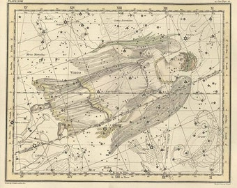 Virgo, Antique map of the Moon, ancient maps, constellation, galaxy, 64