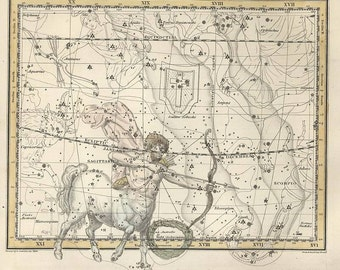 Constellations of the Sagittarius, Corona Australis, Galaxy, Antique map of the Moon, Antique world maps, ancient maps, 74