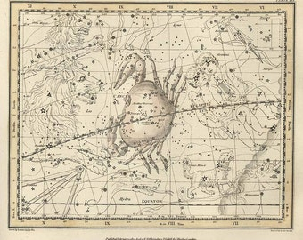 Constellation of the Cancer, Galaxy, Antique map of the Moon, Antique world maps, ancient maps, 76