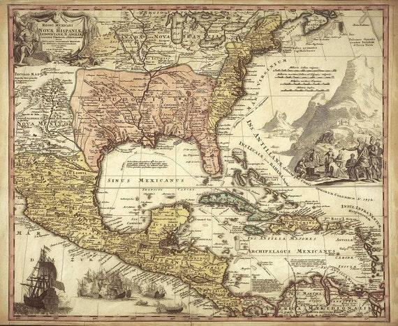 Mexico Antique world maps Old World Map illustration Digital