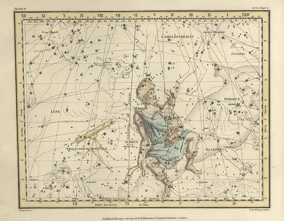 Auriga, Camelopardalis, Telescopium Herschelii, Galaxy, Antique map of the Moon, Antique world maps, ancient maps, 61