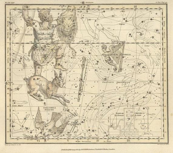 Constellations of the Eridanus, Orion, Lepus, Columba, Cela Sculptoris, Psalterium Georgii, Sceptrum Brandenburgium, 80