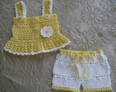 Crochet Pattern for Daisy Tank and Shorts Set, Baby Girl, PDF 12-023 INSTANT DOWNLOAD