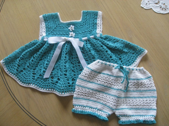 Crochet Pattern for Dress Bloomers Set, Sunsuit Playsuit for Baby Girl with Bloomers, PDF 12-022 INSTANT DOWNLOAD