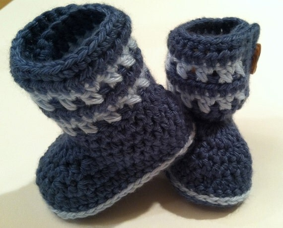 Little Boy Blue Booties for Babies, Crochet Pattern PDF 12-037 INSTANT DOWNLOAD