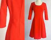 SALE Vintage Red-Orange Tangerine BROCADE Mod Dress