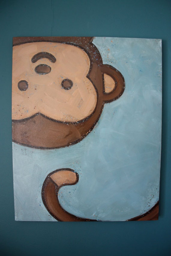 Items similar to monkey children 39 s wall art 16x20 for Cute painting ideas for kids