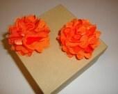 Orange Satin and Mesh Flower Clips