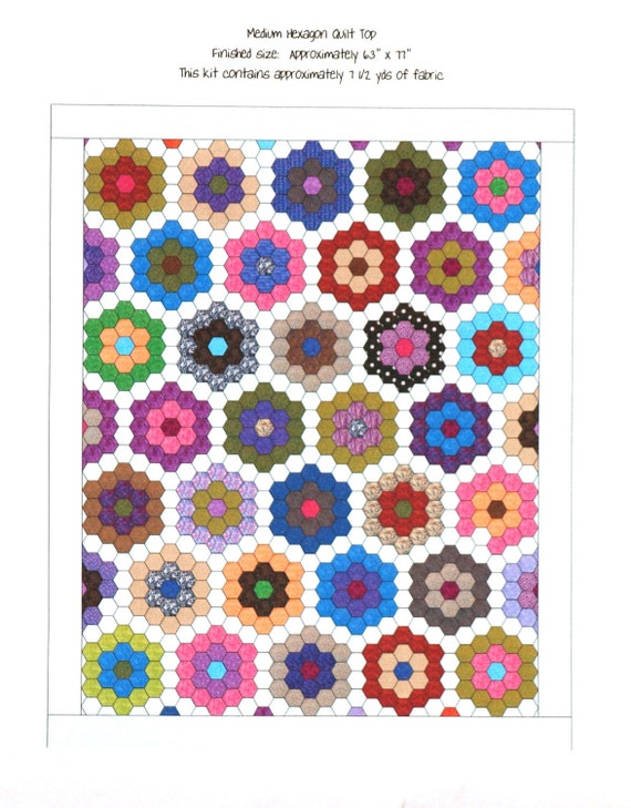 Medium Hexagon English Paper Piecing Quilt Top Kit with Upcycled Recycled Repurposed Paper Pieces aka Grandmothers Flower Garden