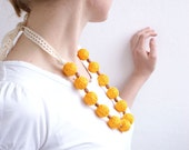 Yellow long beads handmade necklace thread cotton for women lace textile wooden beads natural bright