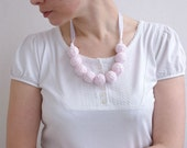50% SALE Pink white long necklace of a thread cotton for women lace textile wooden beads natural pastel melange