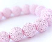 Pink short beads necklace of a thread cotton for women fiber textile wooden beads natural pastel white boxo toggl