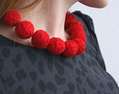 Red short beads necklace of a thread cotton for women textile wooden beads natural toggl christmas