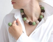 Green brown beige beaded balls set - long necklace thread cotton and ring for her fiber natural pastel
