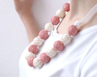 Pink long beads necklace of a thread cotton for women lace textile wooden beads natural colors pastel