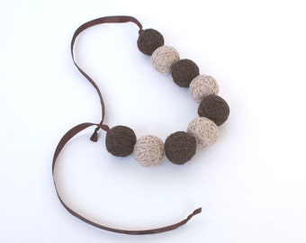 Brown beads handmade balls bracelete thread cotton for women lace textile natural