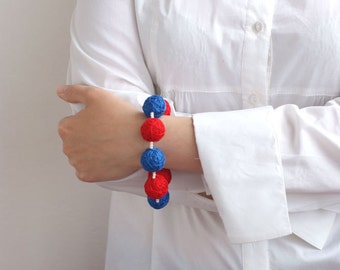 Red blue beaded balls handmade bracelete thread cotton for women textile sea white