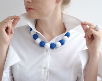 White blue balls handmade beads set - necklace and ring  thread cotton for women fiber natural sea