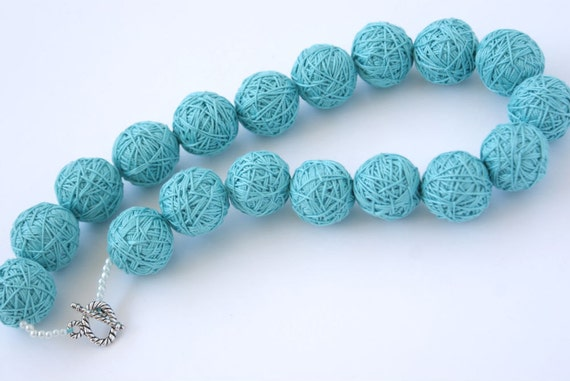 Blue short beads necklace of a thread cotton for women lace textile wooden beads natural pastel white mint toggl