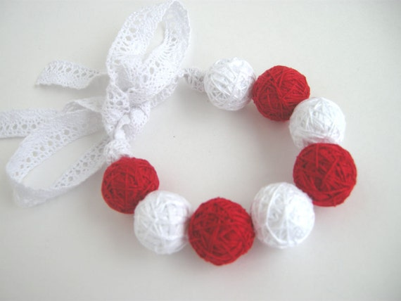 Red white beads lace balls bracelete thread cotton for women textile natural christmas