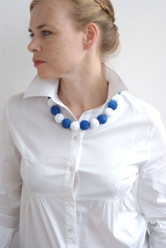 White blue short balls beads necklace thread cotton for women fiber natural sea long colorful