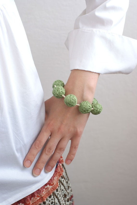 Green beaded balls fabric bracelete thread cotton for women textile rustic woodland natural colors