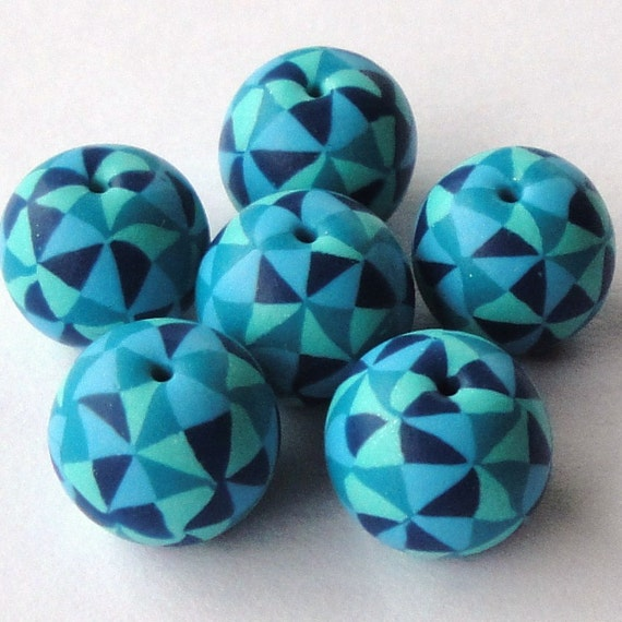 Abstract Blues - Handmade Polymer Clay Beads